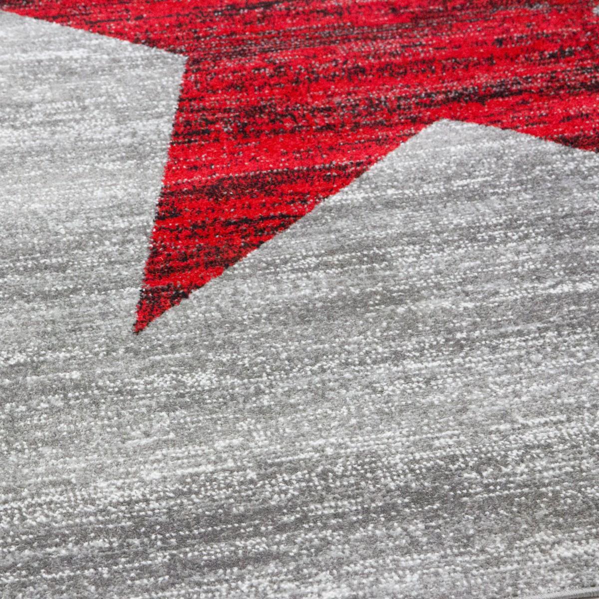 Jugendzimmer Teppich, Sternmuster in Rot, Grau Heatset - R9121