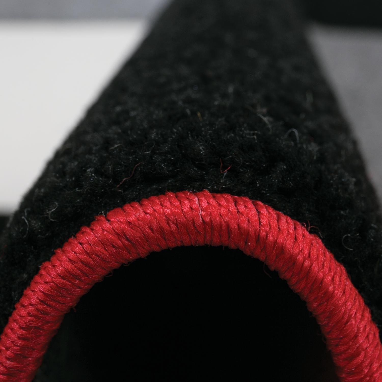 Teppich Schwarz Weis Rot : ... Teppich Kariert Handgeschnittene Konturen in Rot Schwarz Weiss - I6392
