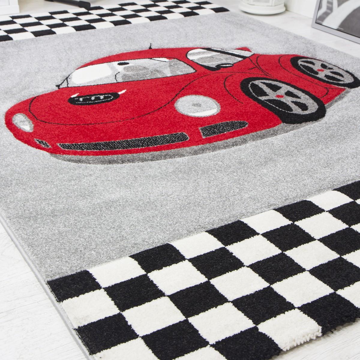 Modern Kinder Teppich Car Rennwagen in Rot Frisee  I6777