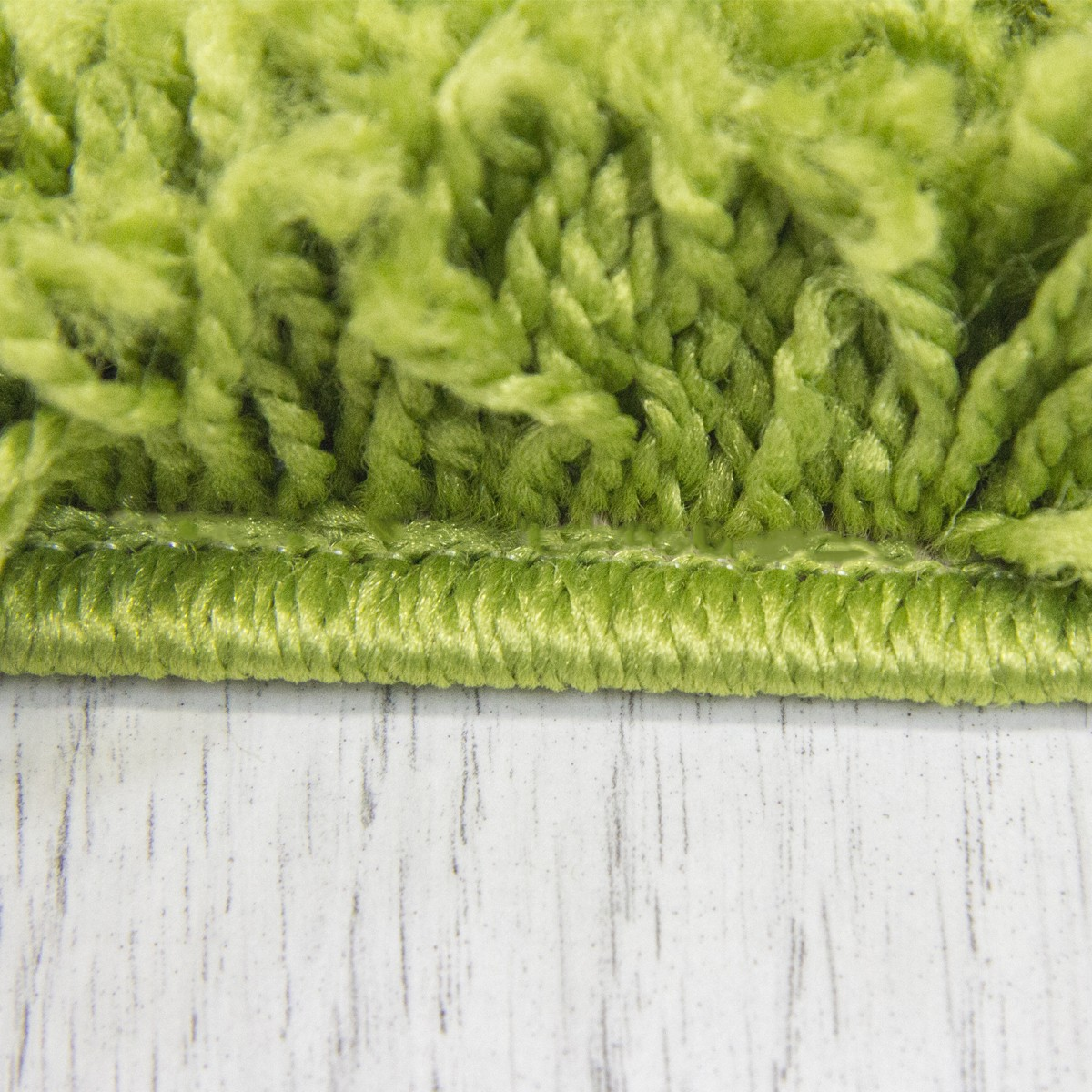 Moderner Hochflor Shaggy Teppich Uni Farbe in Grün  S1000