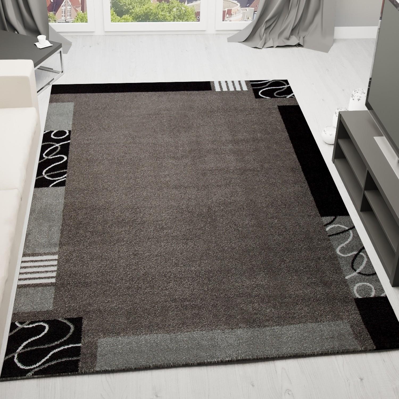 frisee kurzflor teppich mit umrandung modern in grau. Black Bedroom Furniture Sets. Home Design Ideas