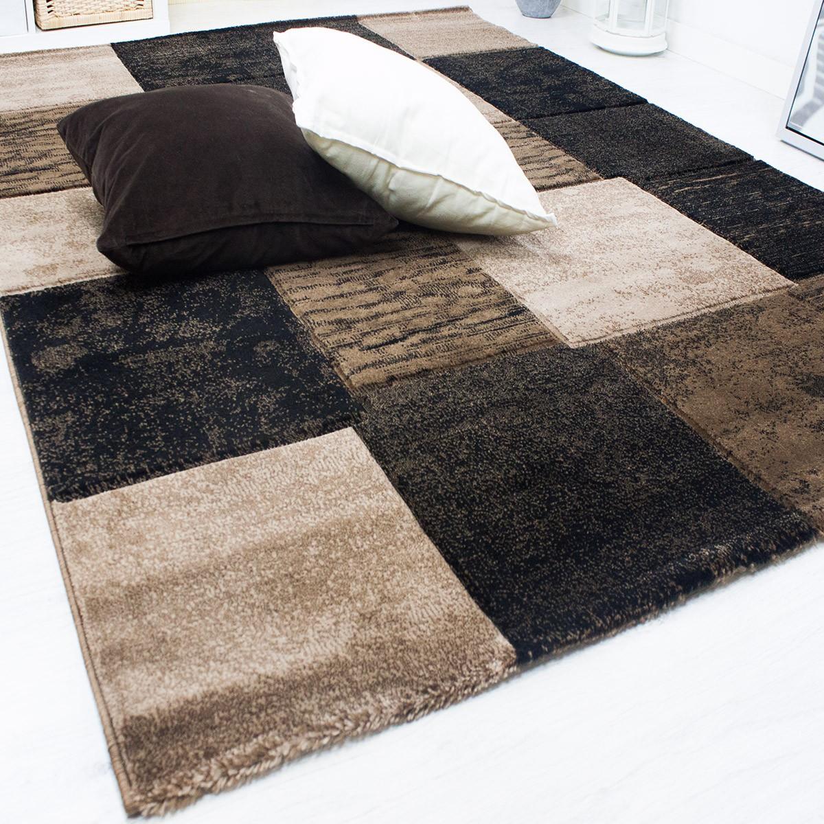 moderner heatset teppich kariert und meliert in braun dunkelbraun sehr dicht gewebt f1166