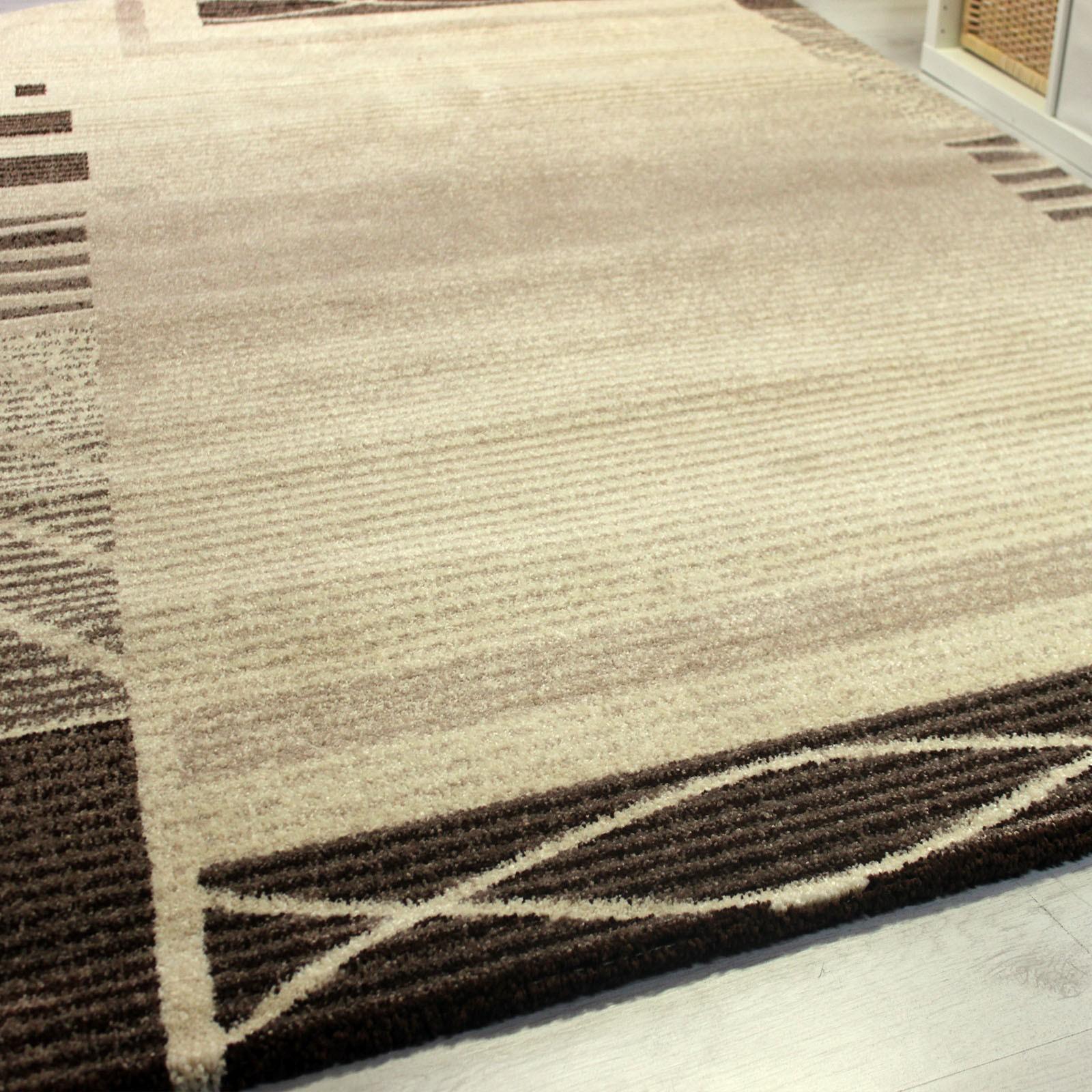 frisee kurzflor teppich mit umrandung modern in beige braun v7331. Black Bedroom Furniture Sets. Home Design Ideas
